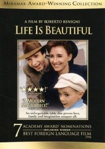 Life is Beautiful, WWII Movie starring Roberto Benigni.  An Italian film about a Jewish Italian family sent to a concentration camp. In order to protect his son the father pretends that everything is actually a game.