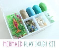 A mermaid play dough kit. Full of ocean-themed doughs and lovely loose parts for creative play! Fun Crafts For Kids, Easy Diy Crafts, Diy For Kids, Gifts For Kids, Craft Kits For Kids, Cool Kids, Playdough Activities, Craft Activities, Preschool Ideas