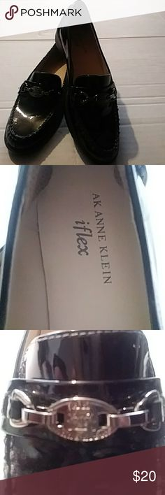 ANNE KLEIN IFLEX PATENT LEATHER LOAFERS Womens ANNE KLEIN black patent leather iflex Anne Klein Shoes Flats & Loafers