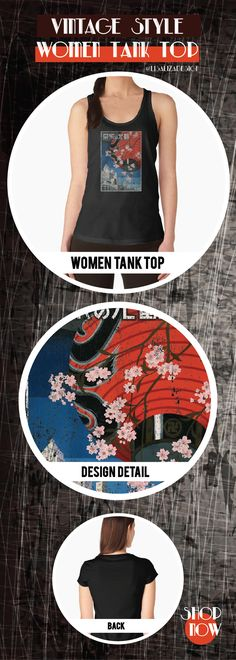 Women's Tank Top Vintage Travel Poster, Aged and Weathered - Tokyo Japan 1930s  Design inspired by vintage travel and advertisements posters from the late 19th century.  (Also available in mugs, shirts, duvet covers, acrylic , phone cases,   kid fashion, clocks, pillows.)   #vintage  #oldies #grunge #retro #travelposter #Japan #Tokyo  #vintageposter #vintagetravel #buyart #giftideas #redbubble   #teepublic #lisalizadesign #vintagefashion #wallart #vintageprints    #women #tanktops #fashion