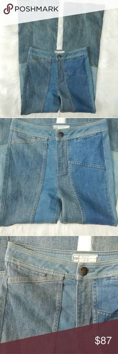 """Free People Patchwork Flare Jeans New without tags.  Length -45"""" Inseam - 34"""" Waist - 13/14"""" flat across 10.5"""" Front Rise   96% Cotton//3% Polyester/1% Lycra Free People Jeans Flare & Wide Leg"""