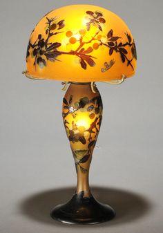Gallé Cameo Glass Table Lamp, Art Nouveau Glass, France
