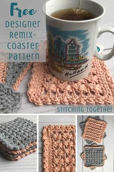 As part of the Designer Remix you can enjoy this square coaster crochet pattern with a special embellishment. Crochet Kitchen, Crochet Home, Crochet Gifts, Easy Crochet, Free Crochet, Thread Crochet, Crochet Flower Patterns, Crochet Puff Flower, Crochet Flowers