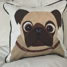 Decorative Pillow of Bulldog  Pillow cover is made out of 100% Cotton Twill with Zipper closure. Pieces are appliqued with a finished decorative stitch Contrasting Black Piping. White on both front and reverse sides. All inside seams finished to avoid fraying. Machine washable. Finished size 18 x 18 inches   Pillow forms available for additional $15.00, plus added shipping cost.