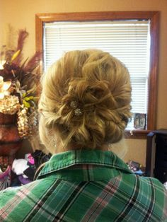 curly twisted updo for prom