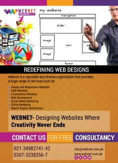 Webnet- designing websites where creativity never ends! Contact us : 021- 34982741-42 http://webnet.com.pk info@webnet.com.pk