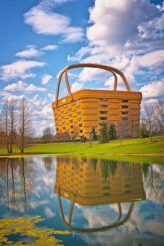 Longaberger Baskets HQ, Newark, Ohio!!! Bebe'!!! Really cool building resembling a longaberger basket and its' reflection!!!
