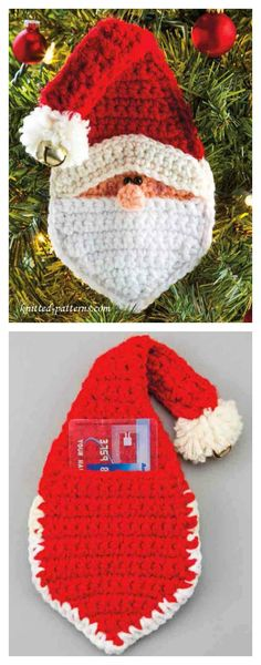 Crochet Gift Ideas Crochet Christmas Santa Pocket Surprise Ornament Free Pattern - The Crochet Christmas Santa Pocket Surprise Ornament Free Pattern is for a small Santa pocket which you can stuff with cash or vouchers. Crochet Christmas Decorations, Crochet Christmas Ornaments, Christmas Crochet Patterns, Crochet Snowflakes, Santa Ornaments, Crochet Santa, Bag Crochet, Crochet Gifts, Crochet Angels