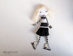 Little Skate Girl Art Doll Brooch  mixed media by miopupazzo