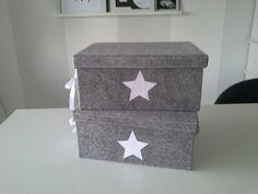 2 Kisten, Filzkisten, Boxen , hellgrau von rosa rot auf DaWanda.com