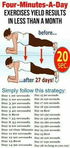 Four-Minutes-a-Day Exercises Yield Results In Less Than a Month Exercise and fitness routines, motivation, tips and advice. Ideas and motivation for beginners and experienced athletes. Get Fit and Keep Fit Fitness Workouts, Fitness Workout For Women, Fitness Diet, Fitness Motivation, Health Fitness, Health Club, Exercise Motivation, Health Diet, Thigh Workouts