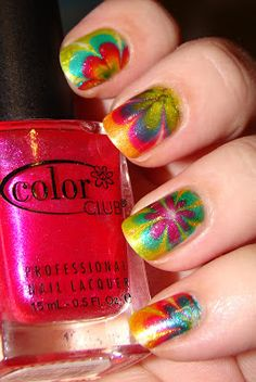 Neon marbled nail art manicure. Pinned for nails by www.SimpleNailArtTips.com