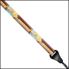 Colonial Leather Ukulele Strap featuring high quality dye sublimation Stripes and Hibiscus Flower Themed print with genuine leather ends. Ukulele Accessories, Ukulele Straps, Colonial, Stripes, Printed, Leather, Prints