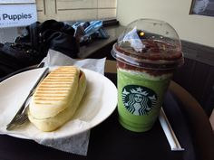 red beans green tea frappuccino & chicken panini