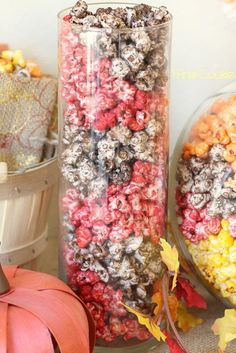 Fall-colored popcorn makes a great edible centerpiece for your Thanksgiving table.