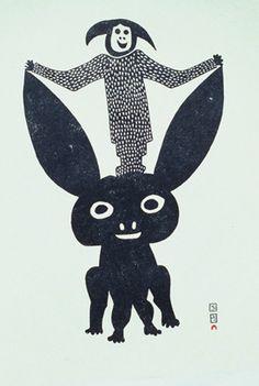 Pudlo Pudlat (1916-1992) – Homme avec lapin (1963)