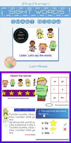 Pre-Primer Sight Words SMART Board Notebook. Great for a center or RTI, for your emerging readers, and ESL/ELL students. This is a 28-page SMART Notebook that will keep your kiddos engaged in learning the following words: a, go, I, the, up. Engage In Learning, Learning Tools, Pre Primer Sight Words, Smart Boards, Ell Students, Teacher Assistant, Interactive Whiteboard, Word Up, Your Teacher