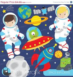 80 OFF SALE Astronaut in space clipart by Prettygrafikdesign  https://www.etsy.com/listing/168112066/80-off-sale-astronaut-in-space-clipart?ref=shop_home_active_14