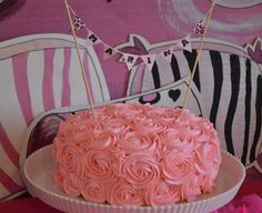 Pink rossette cake with cake banner/ Sunny by Design: Pajama Glam Birthday party