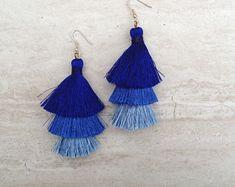 Silk Tassel Stack Earrings Blue Ombre Combo Tassle Earrings BlueTassle Earings BOHO Earrings, Wholesale Jewelry Earrings Handmade