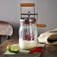 Make a small batch of farm-fresh butter in your own home. This hand-cranked churn is easy to use, even for beginners.At Lehmans.com.