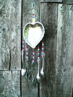 silverware windchimes images   | Garden Art Silverware Wind Chime Independence Day Red White Blue ...