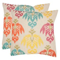 Safavieh 2-Pack Embroidered Ikat Pillow : Target