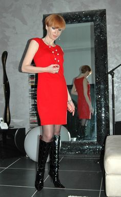 black boots polish GIANMARCO LORENZI red dress MANGO