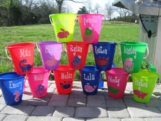QTY 6 for the price of 5 Personalized sand pail, beach bucket with shovel-mix and match sizes, colors, designs-great party favors
