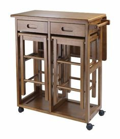 "Space Saver with 2 Stools, Square by Winsome. $186.81. Length 29.61. Assembly Required Yes. Height 32.76. Style Transitional. Width 29.13. On wheels for easy transport, this bar conveniently comes with two stools that can be stored on the cart. There is a square drop leaf table that accommodates two people. Use it in the kitchen or out on the patio for an effortless outdoor meal. Square Stool size 11.40""W/D x 20.80""H. Teak Finish. Assembly RequiredColor BrownFinished..."
