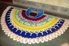 semi circular rangoli designs