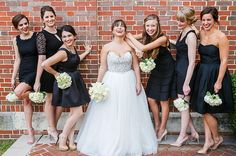 Mismatched Bridesmaids in Classic Black   Tiara to Toe   Bridal Stylist in Los Angeles, CA