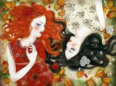 Fairy Tale Moodhttp://fairytalemood.tumblr.com/post/103510090269/snow-white-and-rose-red-by-minasmoke