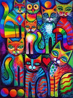 Frida Art, Rainbow Art, Whimsical Art, Cat Art, Art Drawings, Abstract Art, Canvas Art, Illustration Art, Art Prints