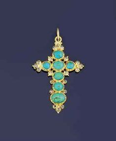 An antique gold, turquoise and diamond cross pendant