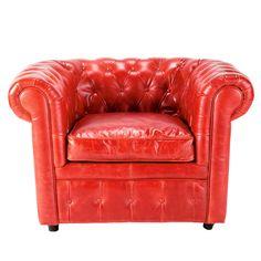 Zetel in rood leder  Vintage - H 76 x B 120 x DI 92