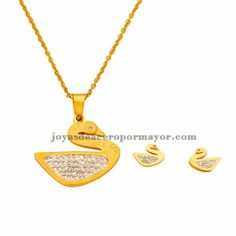 stainless steel swan design jewelry sets in gold color for women-SSNEG922287
