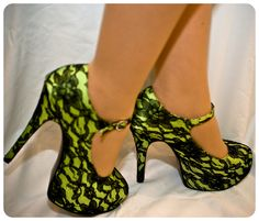 green and black lace high heels!