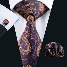 Buy Tie Pocket Square Cufflinks Mens Necktie Set Woven Paisley Designer - Purple Gold - and Shop the latest styles of Affordable Men's Tie Sets. Purple Yellow, Purple Gold, Tie And Pocket Square, Pocket Squares, Mens Silk Ties, Men Ties, Paisley Tie, Cufflink Set, Tie Set