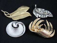 Lot of 4 Vintage Pins or Brooches Trifari Coro Roget Brushed Gold & Silver Tone #Trifari