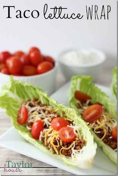 Taco Lettuce Wrap Recipe - I love lettuce tacos Taco Lettuce Wraps, Lettuce Wrap Recipes, Lettuce Wraps Ground Beef, Healthy Lettuce Wraps, Veggie Tacos, Clean Recipes, Cooking Recipes, Easy Recipes, No Carb Recipes