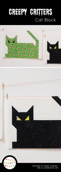 Creepy Critters Cat Quilt Block by ellis & higgs