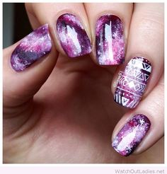 Purple galaxy nail art inspiration