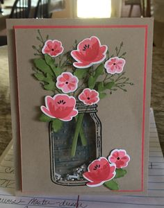 handmade card ... mason jar ... shaker card .. luv the look of the flowers in coral hues with kraft background ...