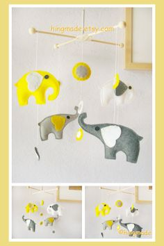 Baby Nursery Mobile - Baby Crib Mobile - Baby Mobile - Polka Dot Grey Yellow White Elephants theme (U can pick your colors)