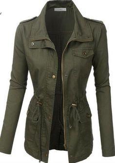 Military Style Jacket - Olive