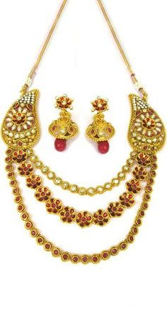 Georgeous Golden And Red Polki Necklace Set.