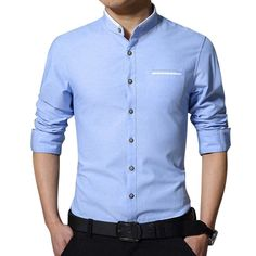 Designer Men's Business Solid Color Stand Collar Cotton Casual Long Sleeve Pocket Dress Shirt - NewChic