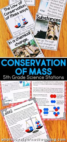 Fifth grade science stations for conservation of mass include experiments, videos, games and hands-on science activities for your classroom. Students investigate dissolvable solids, diagram whether mass is added or subtracted, read about how things change and stay the same, model adding parts, sort chemical change or physical change and explore mass. These engaging science stations meet the 5th grade NGSS. 5th Grade Science Experiments, 5th Grade Activities, Science Activities For Kids, Science Lessons, Teaching Science, Science Fun, Science Ideas, Teaching Tips, Chemical And Physical Changes