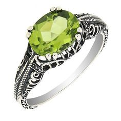 Antique Finished Sterling Silver Oval Genuine Peridot Filigree Ring available at joyfulcrown.com